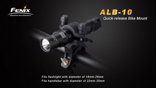 Fenix Bike mount ALB 10 fits flashlights handbar with diameter of 22 mm to 35 mm.
