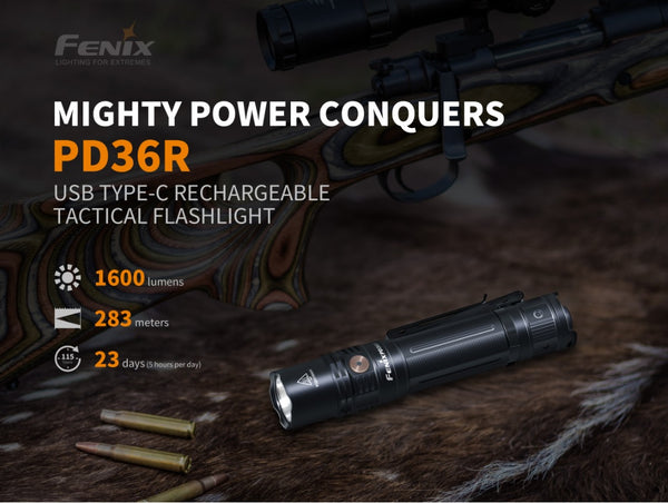 Fenix PD36R mighty power conquers USB type C rechargeable tactical flashlight