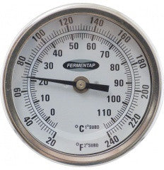 Fermentap Thermometer (3 inch Face x 2.5 or 6 inch Probe)