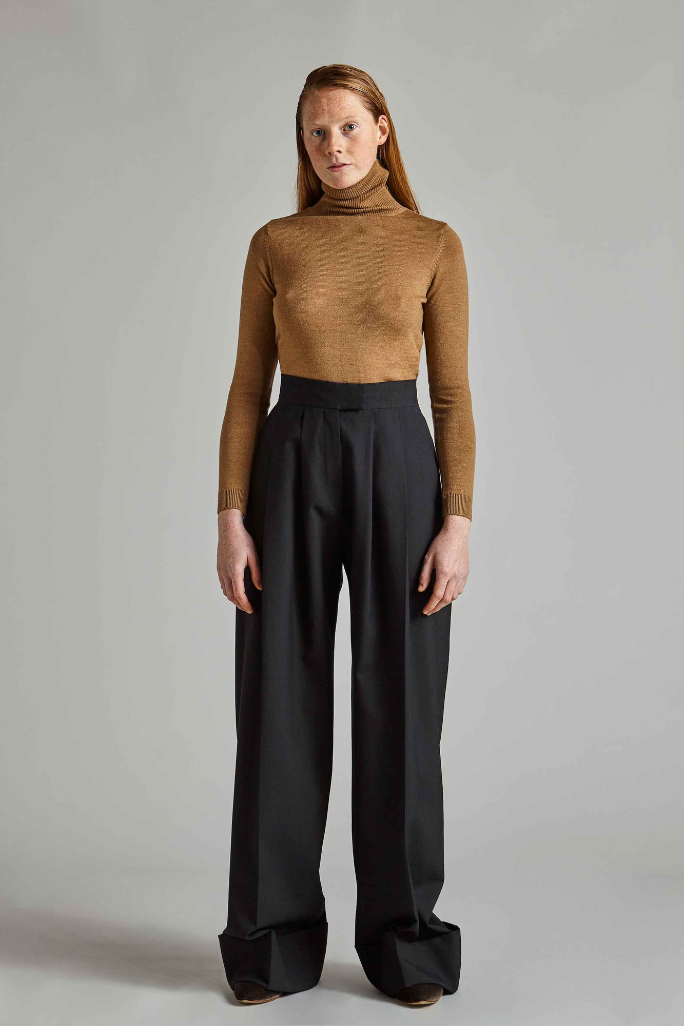Grace - Camel Roll Neck