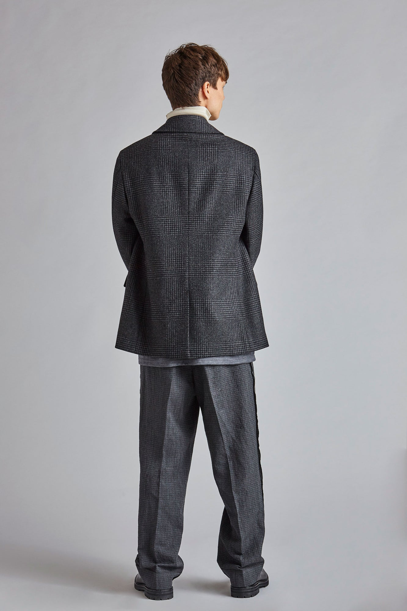 Wilo - Grey Check Pea Coat
