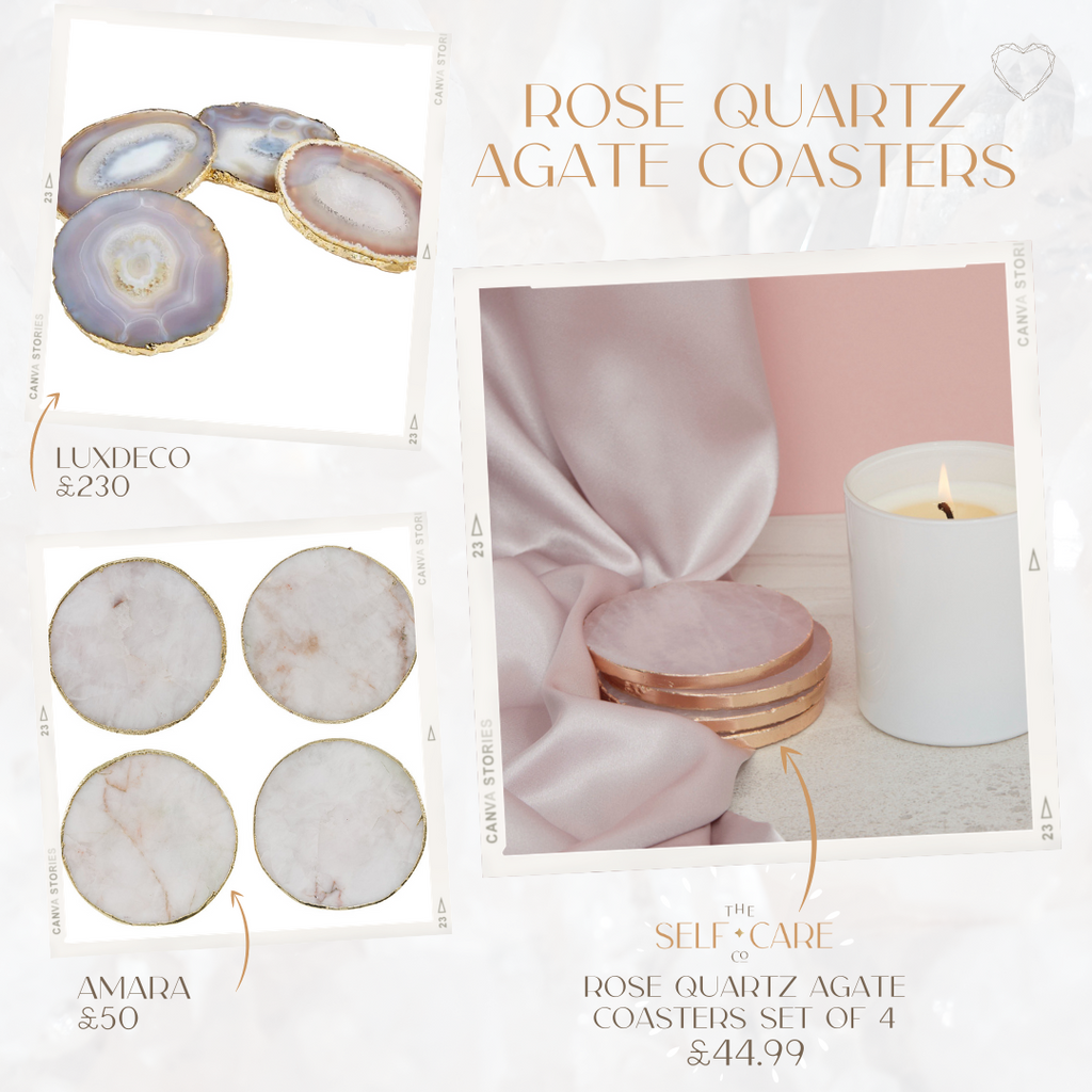 Rose Quartz Agate Coasters Set of 4
