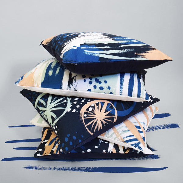 Clustered Blue Rectangle Cushion