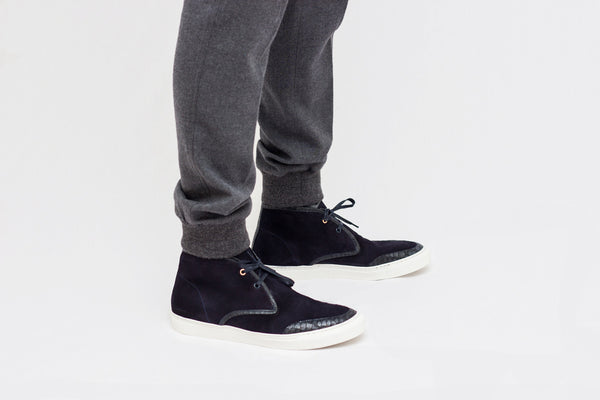 Navy Earl Chukka with grey wool pant