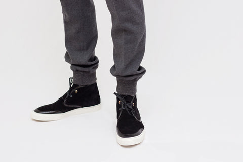 black earl chukka with grey wool pant