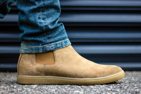 sand suede chelsea boot