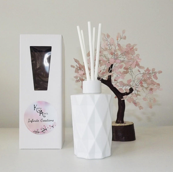 Matte White Diamond Cut Scented Reed Diffuser 170mls (Avail in 25+fragrances)