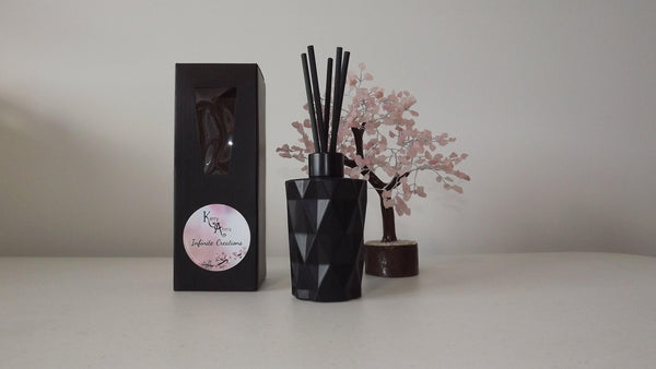 Black Matt Rainbow Diamond Cut Scented Reed Diffuser 170mls (Avail in 25+fragrances) - Kerry Ann's Infinite Creations @ The Scented Candle