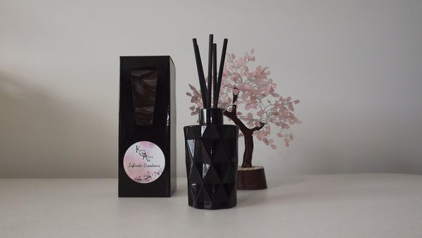 Black Gloss Rainbow Diamond Cut Scented Reed Diffuser 170mls (Avail in 25+fragrances)