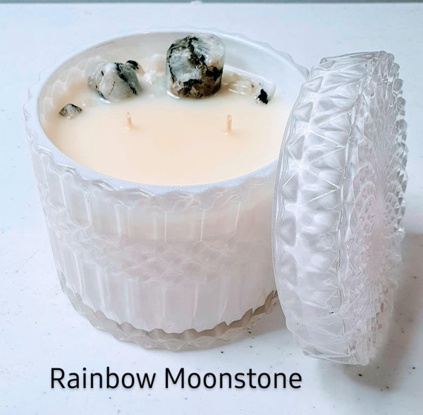 Choose your own Crystal Candle - White Deluxe Jar Candle 400gms
