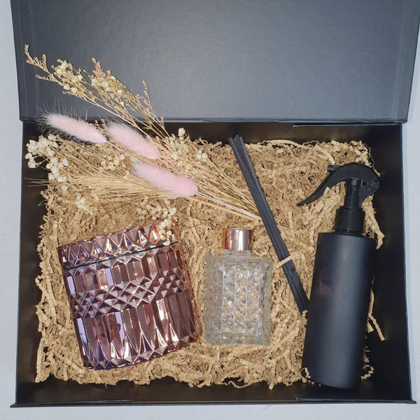 Limited Edition Deluxe Gift Boxed Set. Rose Gold Candle, Diffuser & Room Spritz - Kerry Ann's Infinite Creations @ The Scented Candle
