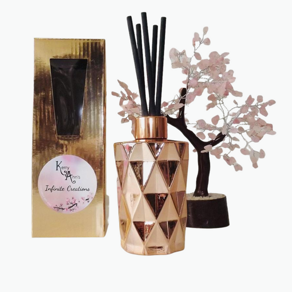 Rose Gold Diamond Cut Scented Reed Diffuser 170mls - Over 45 Scents - Kerry Ann's Infinite Creations @ The Scented Candle