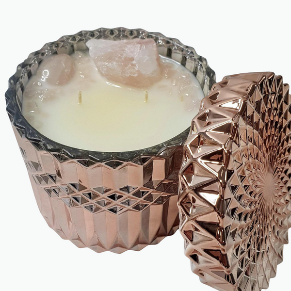 Choose your own Crystal Candle - Rose Gold Deluxe Jar Candle 400gms - Kerry Ann's Infinite Creations @ The Scented Candle