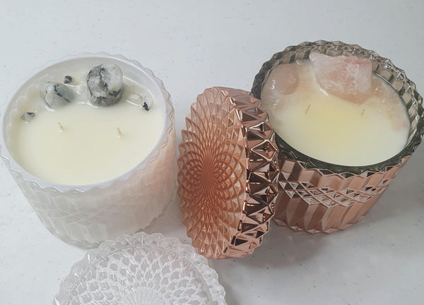 Rose Quartz Crystal Candle - Rose Gold & White Deluxe Jar Candle 400gms