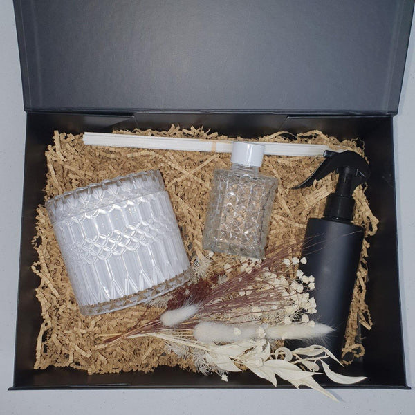 Limited Edition Deluxe Gift Boxed Set. White Candle, Diffuser & Room Spritz - Kerry Ann's Infinite Creations @ The Scented Candle