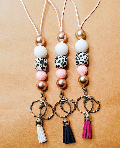 White Leopard Lady Key Chain Lanyards - Kerry Ann's Infinite Creations @ The Scented Candle