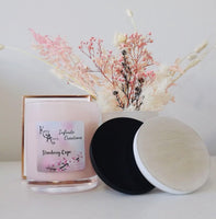 Extra Large Pink Strawberry Crepe  Coconut Soy Wax Scented Candle