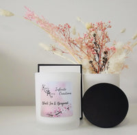 Black Tea & Bergamot Scented Frosted White Glass Jar Candle