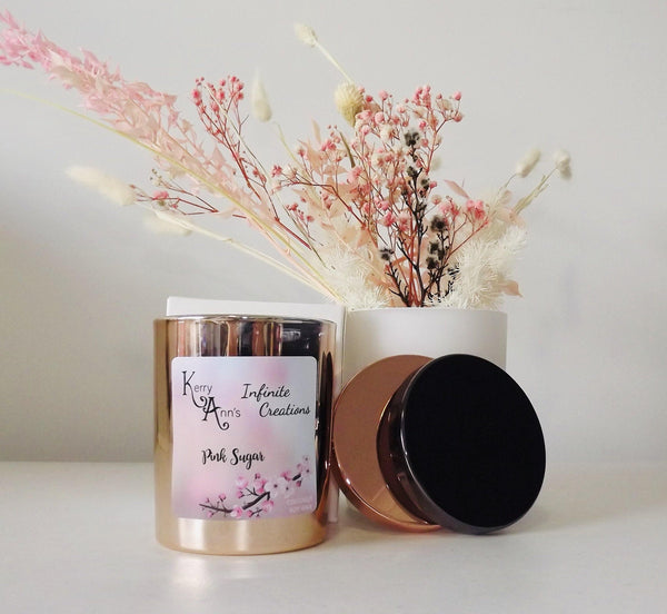 Pink Sugar Rose Gold Candle Coconut Soy Wax