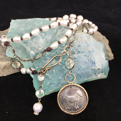 Horse Coin with Green Amethyst