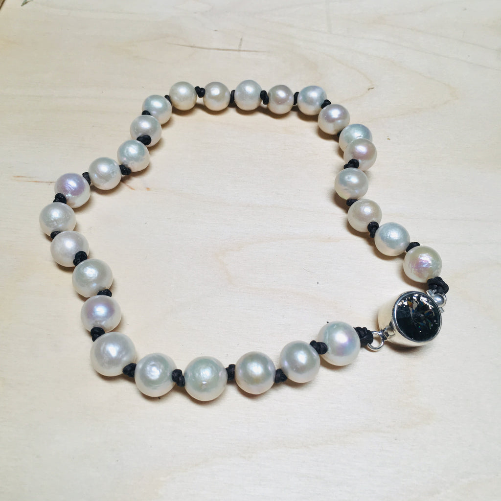Pearl and Leather Collar with Swarovski Crystal Clasp