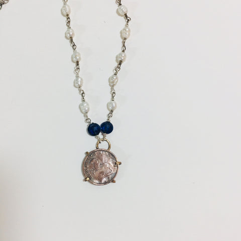 Sapphire and Horse Coin Necklace