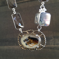 INTAGLIO AND SMOKEY TOPAZ NECKLACE