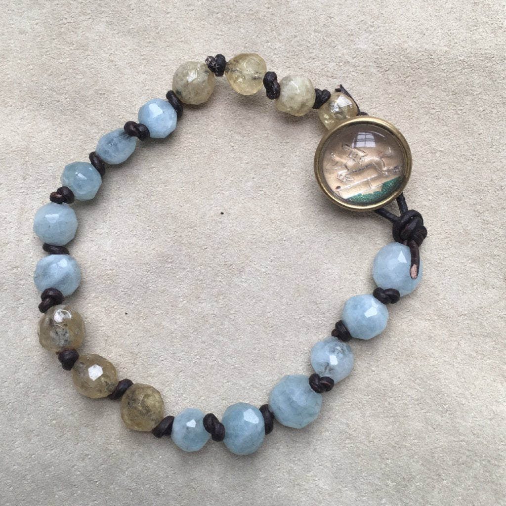 Rough cut Aquamarine and Citrine Bracelet