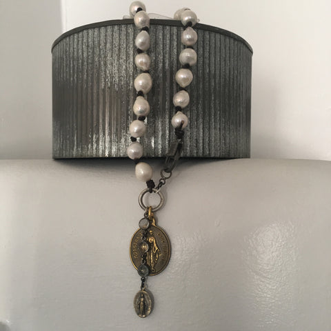 Mary and Pearls Necklace