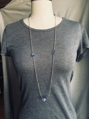 Pyrite and Blue Chalcedony Necklace