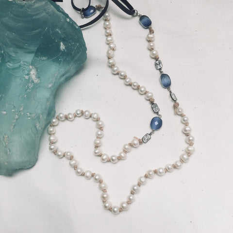 BLUE CHALCEDONY AND PEARL NECKLACE