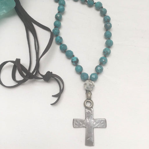 Turquoise Coptic Cross Necklace