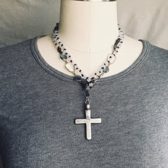 Gray Agate and Coptic Cross Necklace