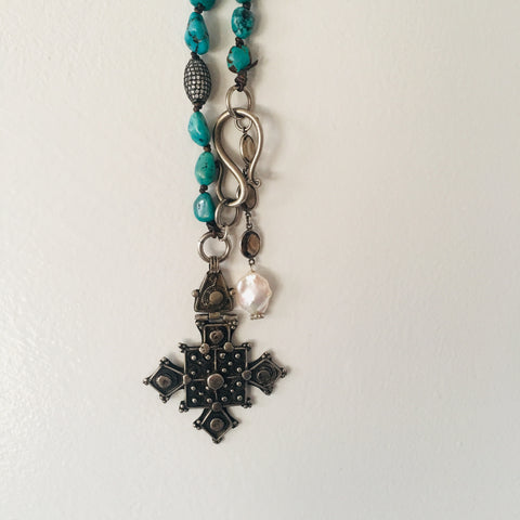 Coptic Cross on Turquoise