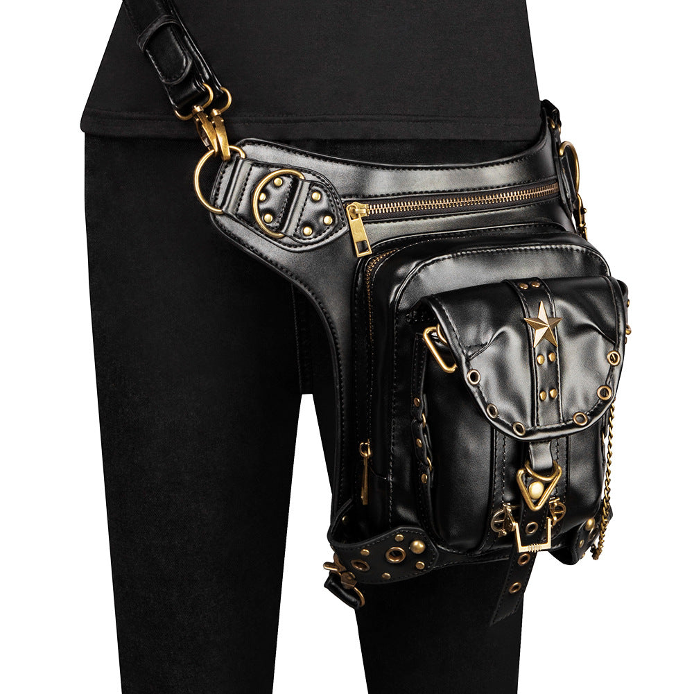 Steampunk Waist Bags Gothic Thigh Packs Retro PU Leather Unisex Black Motorcycle Waist Bag
