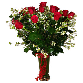 1 Dozen Arranged Long Stem Red Roses