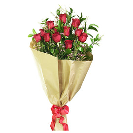 1 Dozen Wrapped Long Stem Red Roses