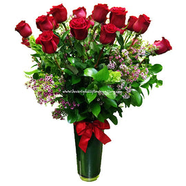 2 Dozen Arranged Long Stem Red Roses