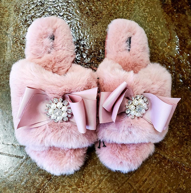 Pink Jeweled Slippers