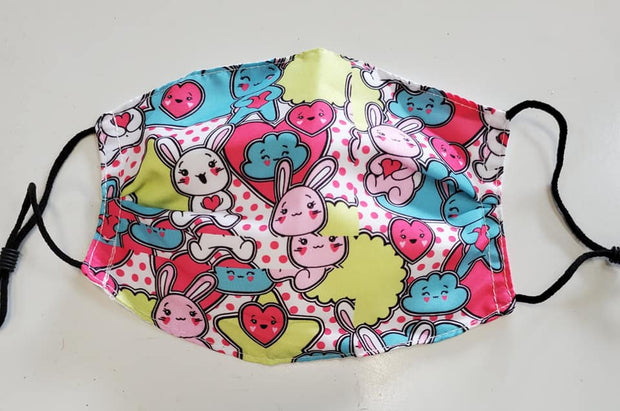 Bunny and Hearts Child's Patterned Mask