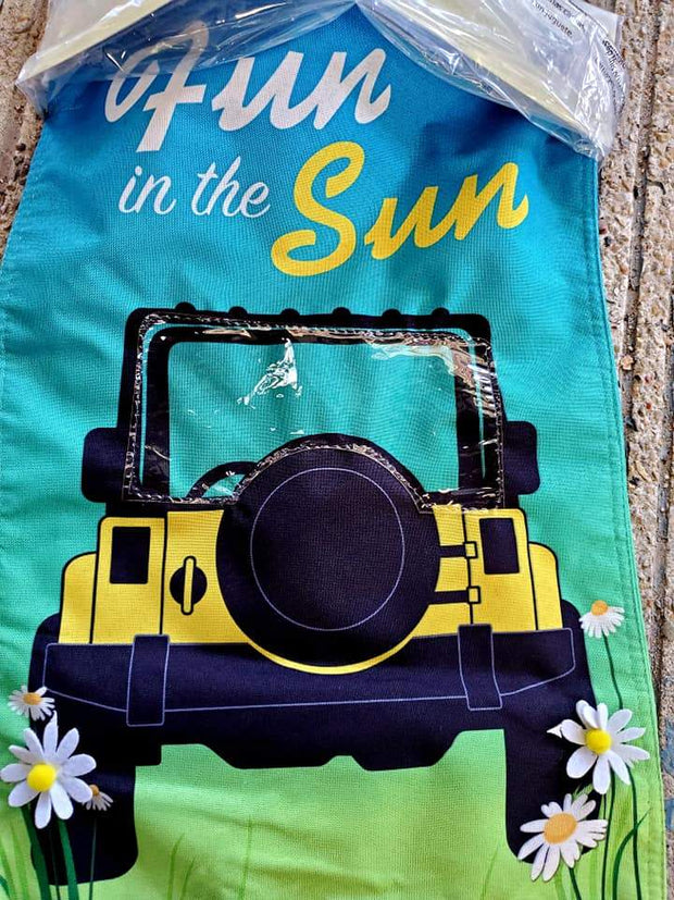 """Fun in the Sun"" Small Jeep Garden Flag"