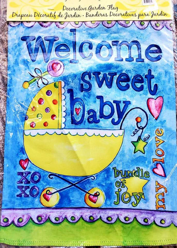 Welcome Sweet Baby Small Baby Shower Garden Flag