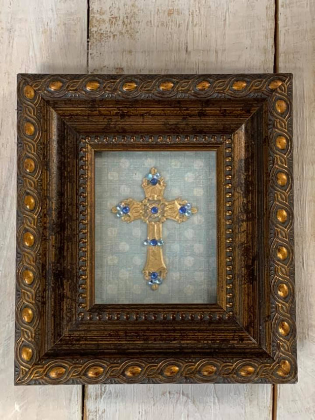 Bronze & Blue Framed Cross