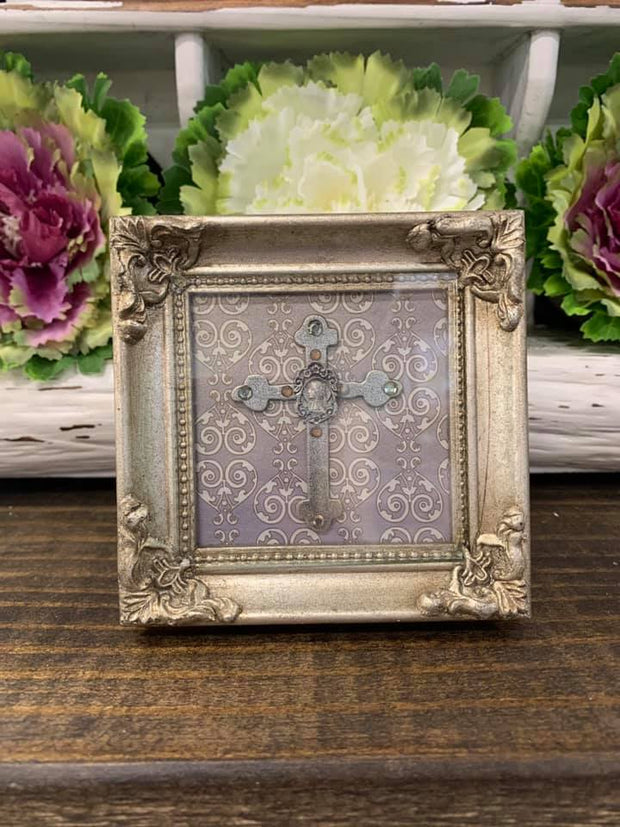 Silver Relief Small Framed Cross