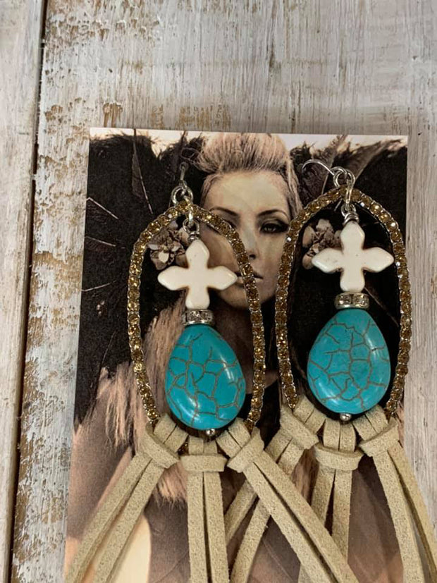 Turquoise Stone & Beige Suede Earrings