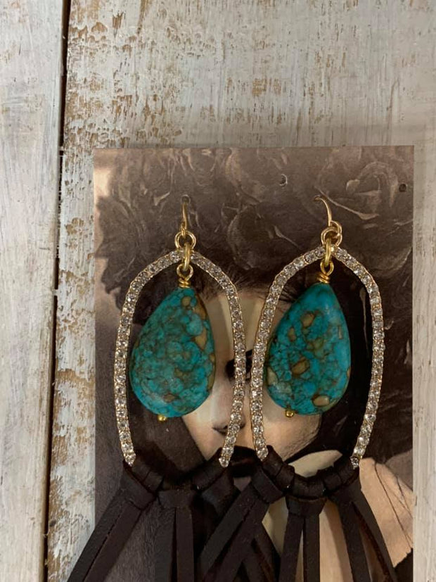 Turquoise Stone & Brown Suede Earrings