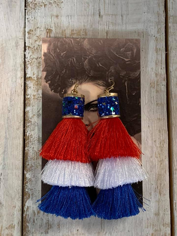 Patriotic Flag Color Tassel Earrings