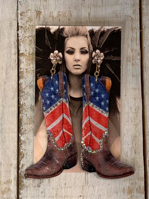 Cowboy Boot Patriotic Earrings