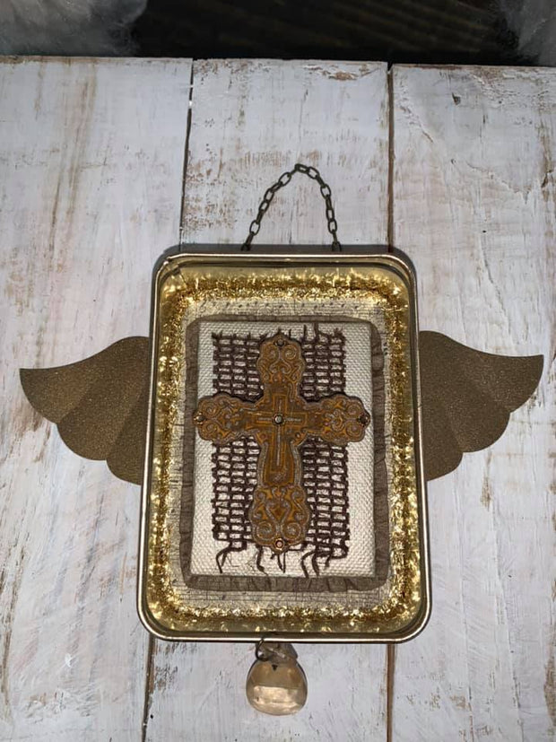 Winged Cross & Crystal Ornament