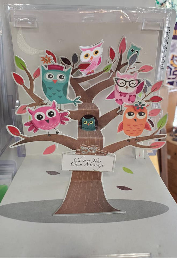 Personalizable Owls Pop Up Card